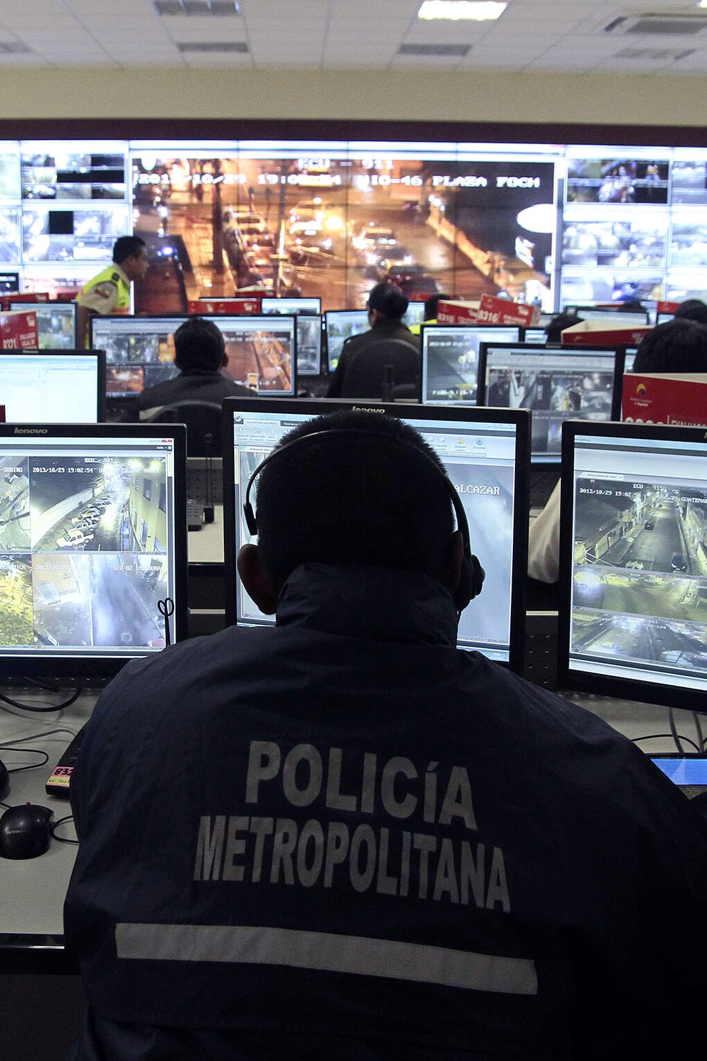 Police oversee video surveillance system in Quito, Ecuador, in 2013. Chinese firms have helped build Ecuador's surveillance systems.
