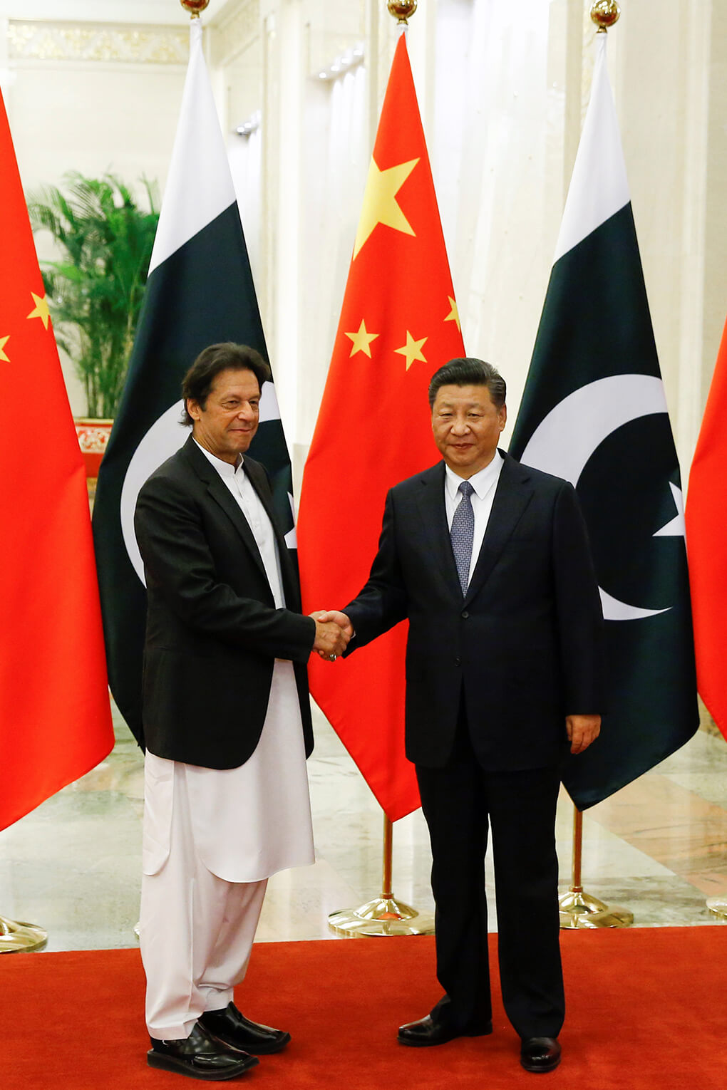 Chinese President Xi Jinping meets Pakistani Prime Minister Imran Khan in Beijing, in 2018. Pakistan has been a central part of the Digital Silk Road Initiative.