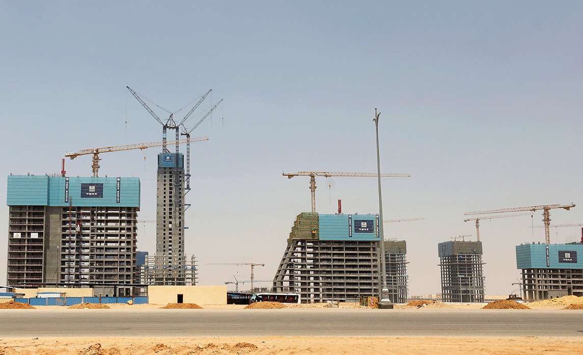 Buildings are pictured under construction in Egypt's New Administrative Capital, in 2020. Chinese banks are financing the new capital.