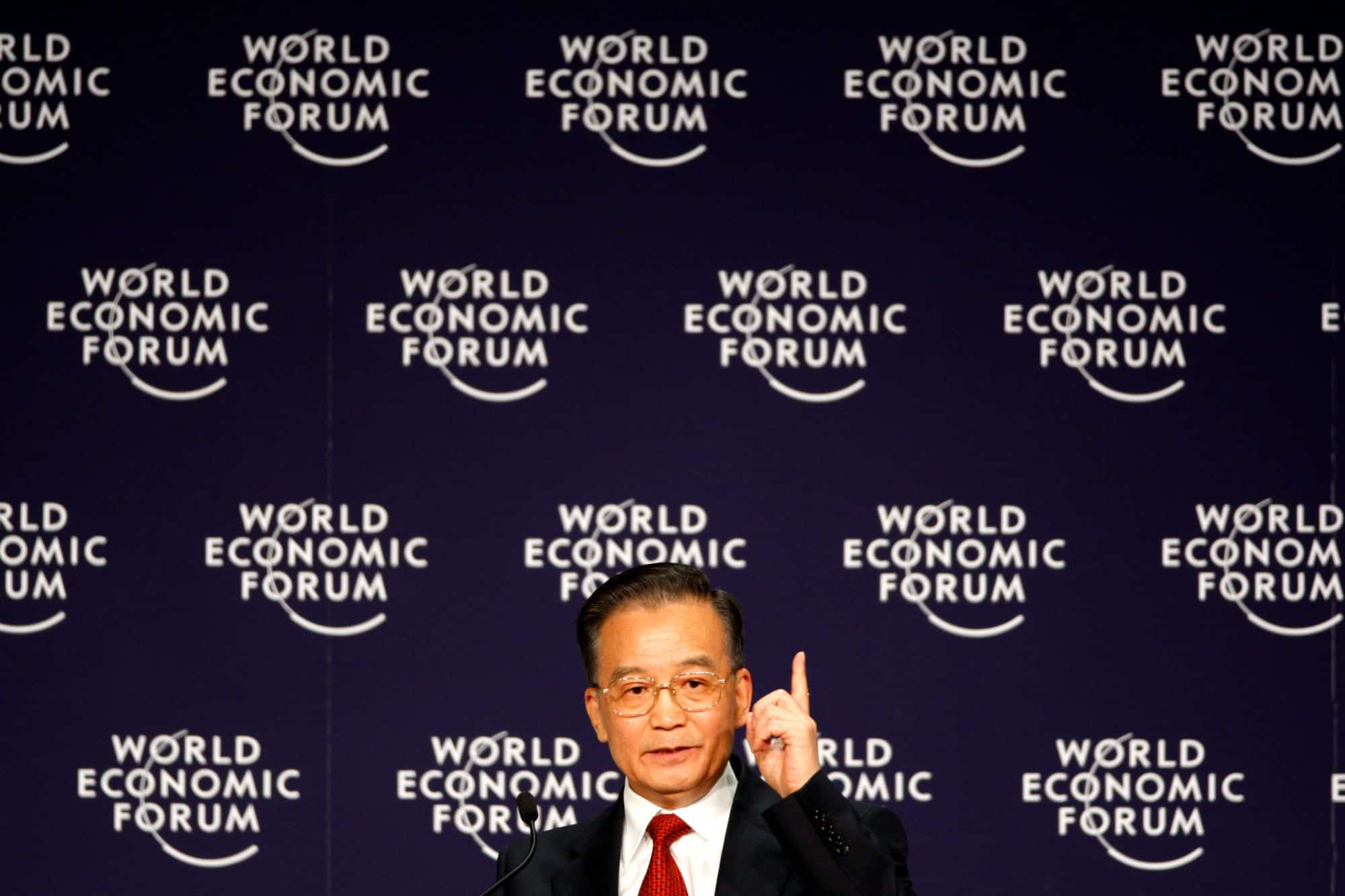 Chinese Premier Wen Jiabao speaks at the World Economic Forum as the global financial crisis spirals out of control, in September 2008.