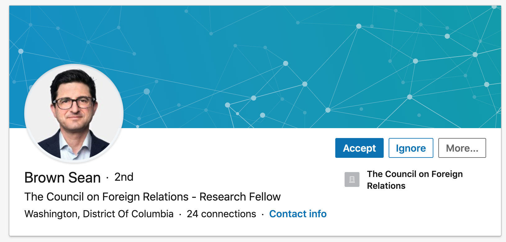 Hey LinkedIn, Sean Brown Does Not Work at CFR: Identity, Fake Accounts, and Foreign Intelligence