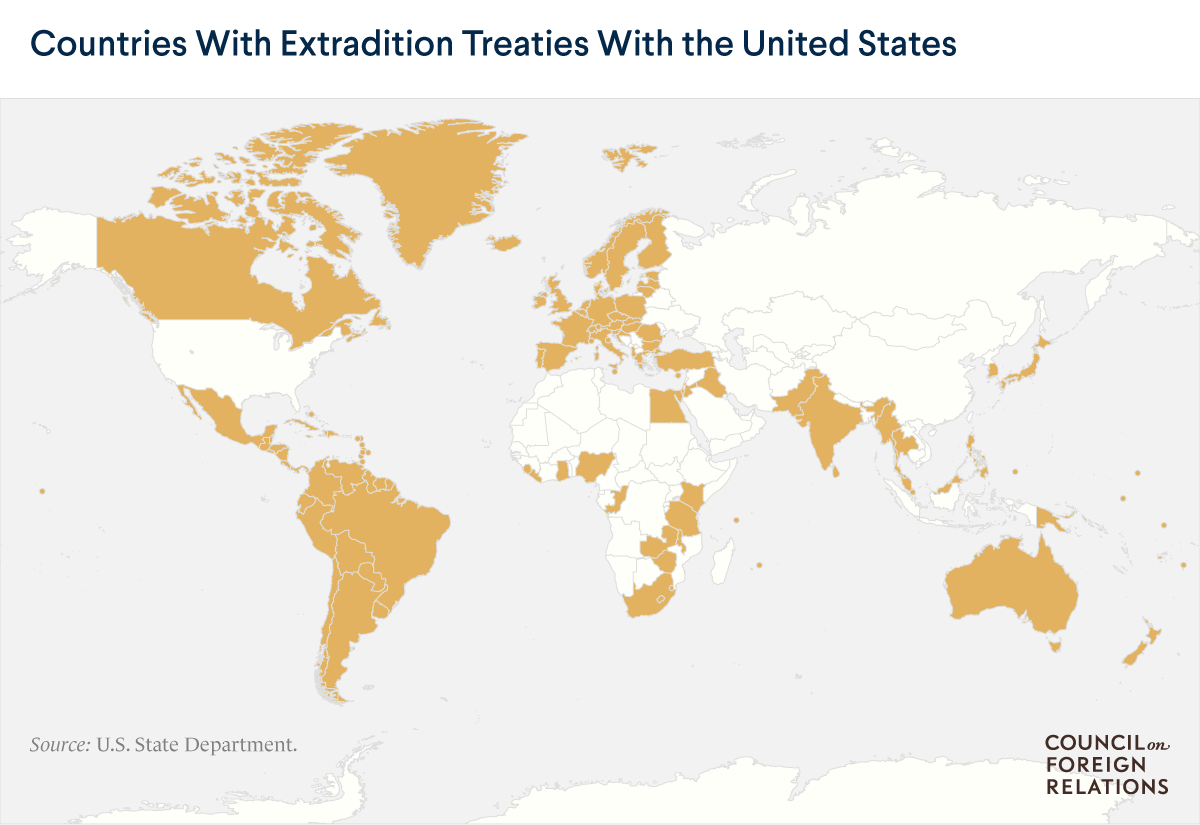 A map of countries with extradition treaties with the U.S.