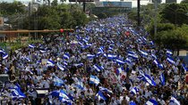 Demonstrators protest against police violence and the government of Nicaraguan President Daniel Ortega in Managua, Nicaragua on April 23, 2018.
