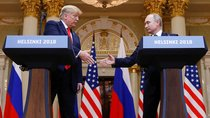 U.S. President Donald Trump and Russia's President Vladimir Putin shake hands during a joint news conference after their meeting in Helsinki, Finland, July 16, 2018.