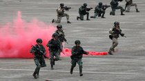 Soldiers take part in a military drill in Taiwan