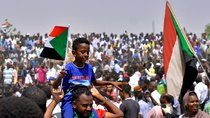 Sudanese demonstrators celebrate after the announcement that President Omar al-Bashir had been detained and a military council would run the country for a two-year transitional period, Khartoum, Sudan April 11, 2019.