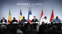 France's President Emmanuel Macron with the G5 Sahel heads of state deliver a news conference as part of the G5 Sahel summit on the situation in the Sahel region in Pau, France January 13, 2020