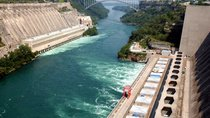 The Niagara River Gorge cuts through Ontario Hydro (L) and the Robert Moses Power Plant (R) at the United States-Canadian Border on August 15, 2003.