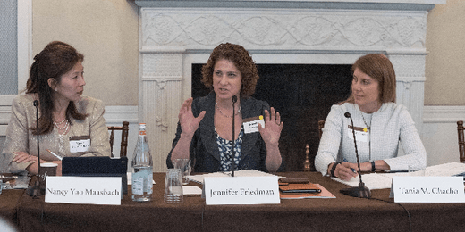 Nancy Yao Maasbach (2003-2004 IAF in Japan), Jennifer Friedman (2014–2015 IAF in Japan), and Tania M. Chacho (2016–2017 IAF in Japan ) speaking at the 2017 IAF Conference