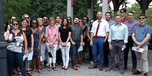 New York staff take a walking tour of Central Park.